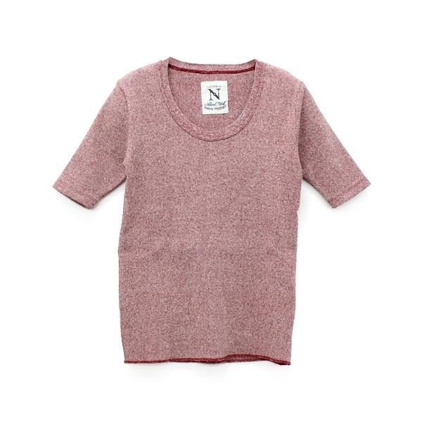M0677 メランジリブクルーネック半Tシャツ