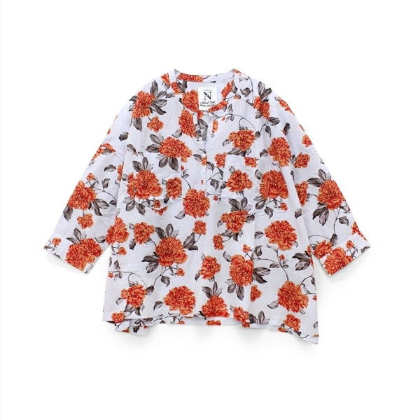 B2326 フラワープリントビッグシャツ
