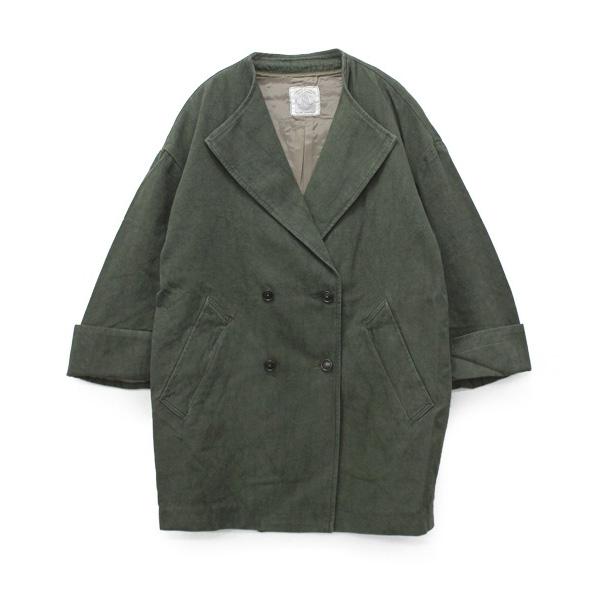 C0635 綿麻オックスノーカラーコクーンコート