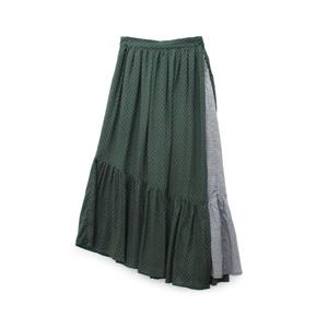 G0944 小紋ギンガムフリルギャザースカート