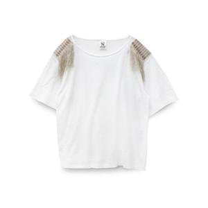 M0925 ショルダーフリンジTシャツ